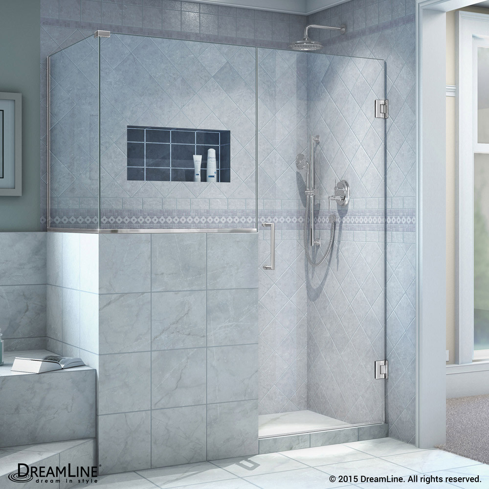 "DreamLine SHEN-2430303630-01 Unidoor Plus 60 x 30.375 x 72"" Hinged Shower Enclosure In Chrome Finish"