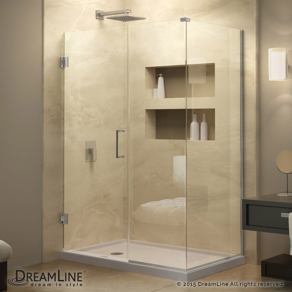 DreamLine SHEN-24340300-01 Unidoor Plus Hinged Shower Enclosure In Chrome Finish Hardware
