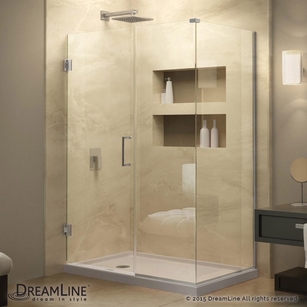 DreamLine SHEN-24355340-01 Unidoor Plus Hinged Shower Enclosure In Chrome Finish Hardware