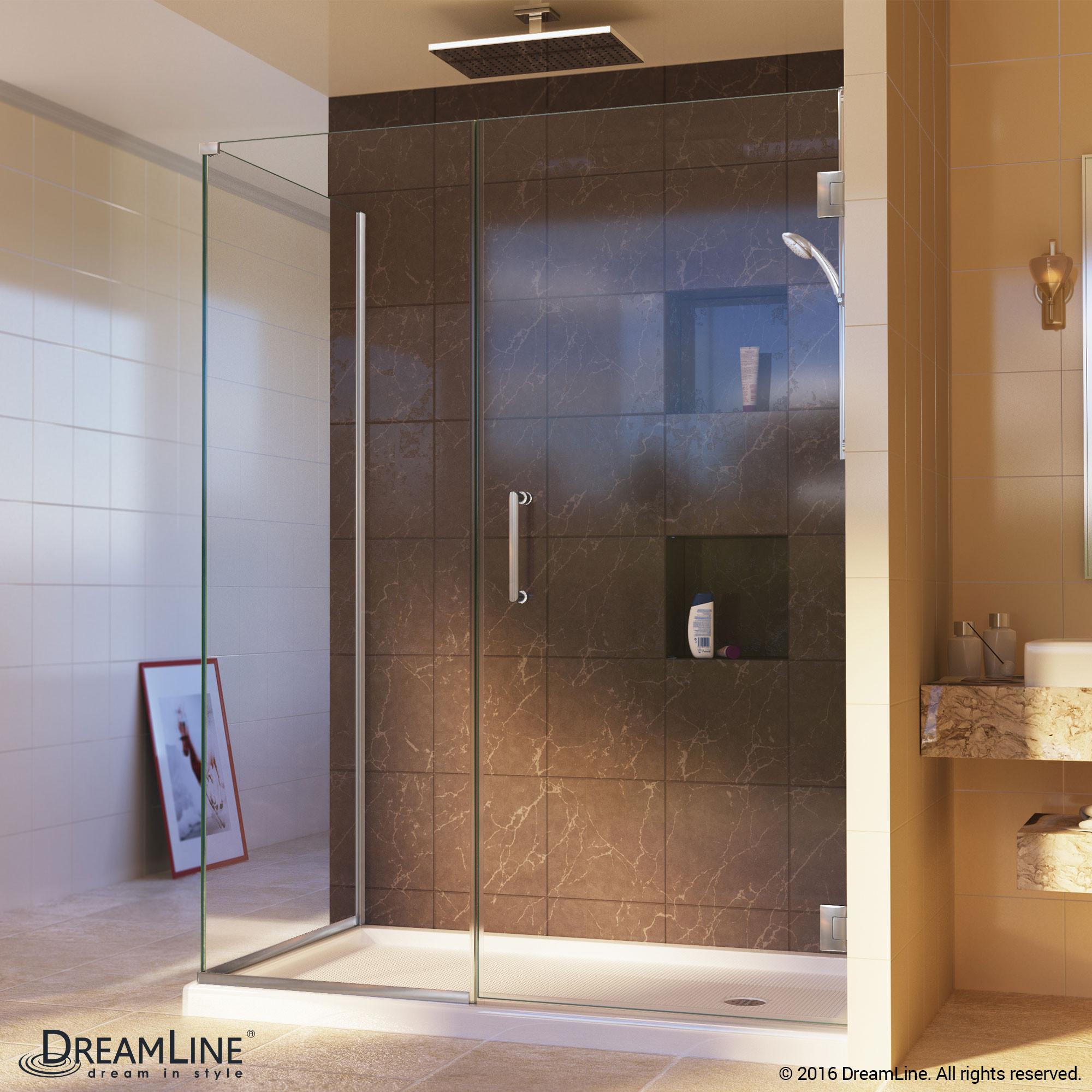 DreamLine SHEN-24400340-04 Unidoor Plus Hinged Shower Enclosure In Brushed Nickel Finish Hardware