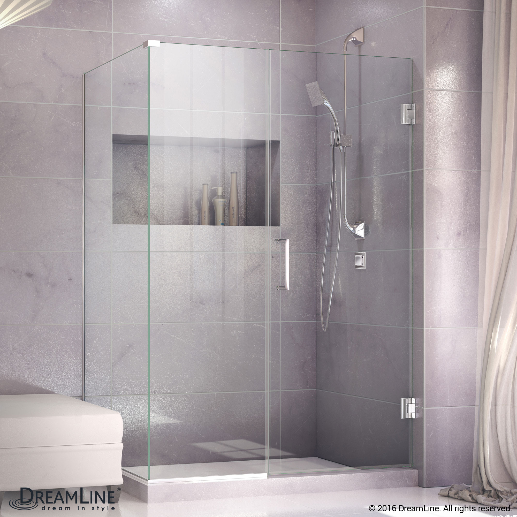 DreamLine SHEN-24435300-01 Unidoor Plus Hinged Shower Enclosure In Chrome Finish Hardware