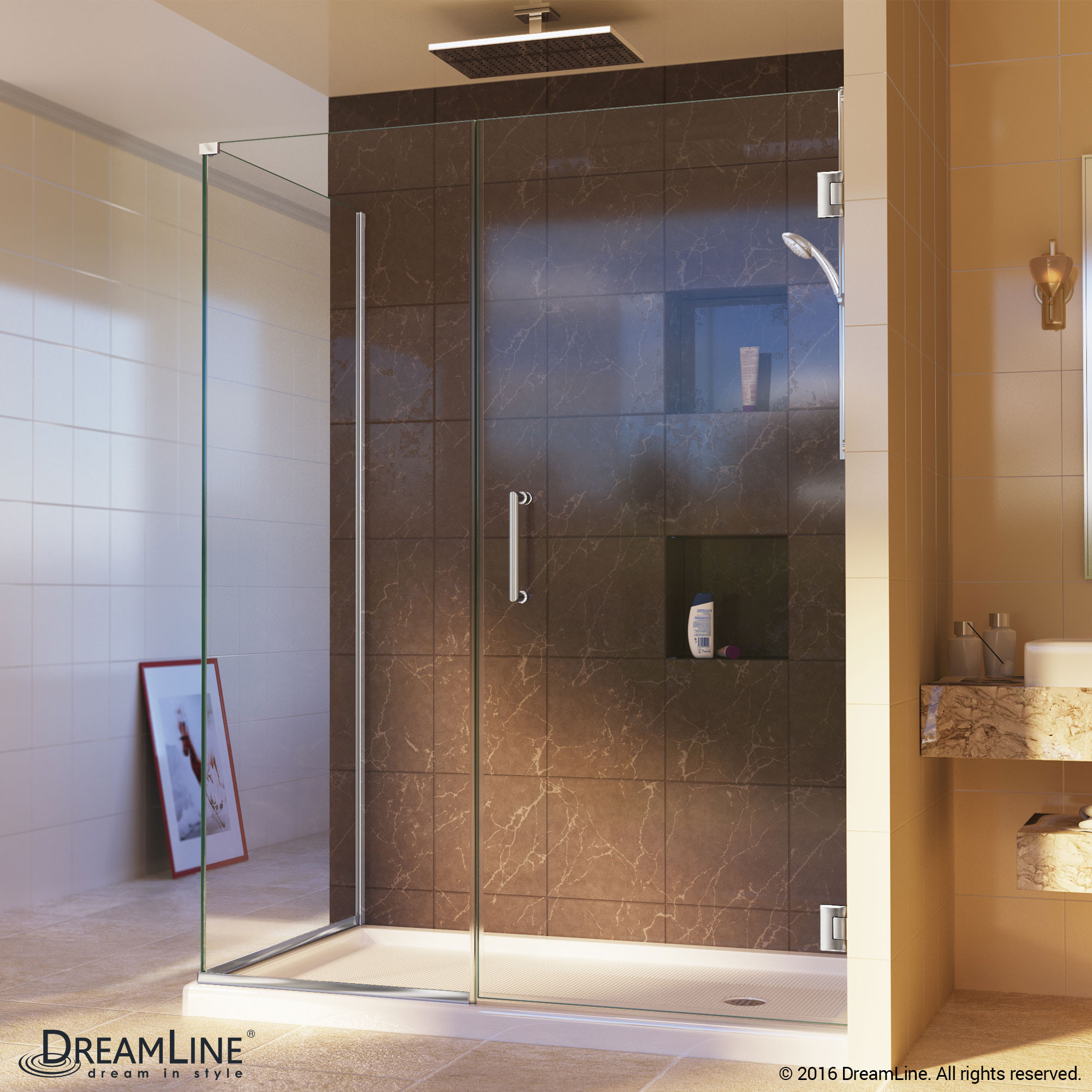 DreamLine SHEN-24495300-01 Unidoor Plus Hinged Shower Enclosure In Chrome Finish Hardware