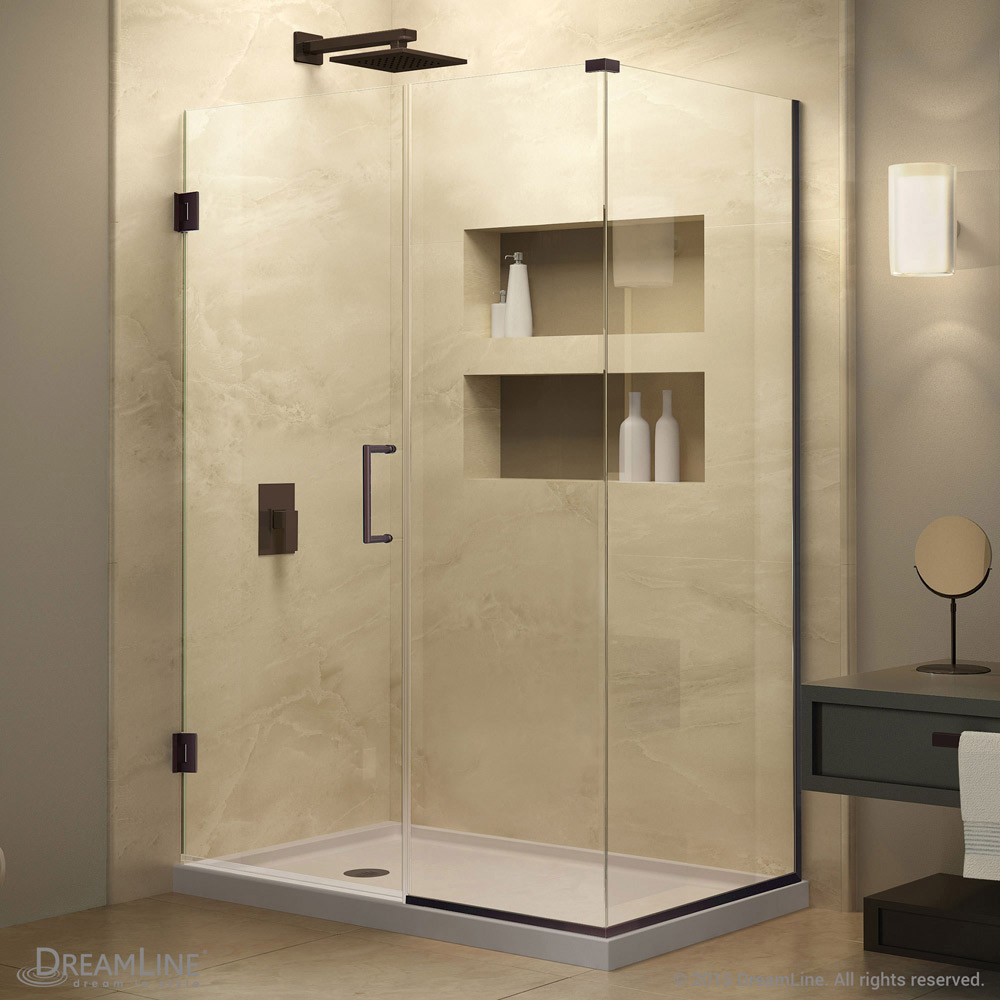 DreamLine SHEN-24580340-06 Unidoor Plus Hinged Shower Enclosure In Oil Rubbed Bronze Finish Hardware