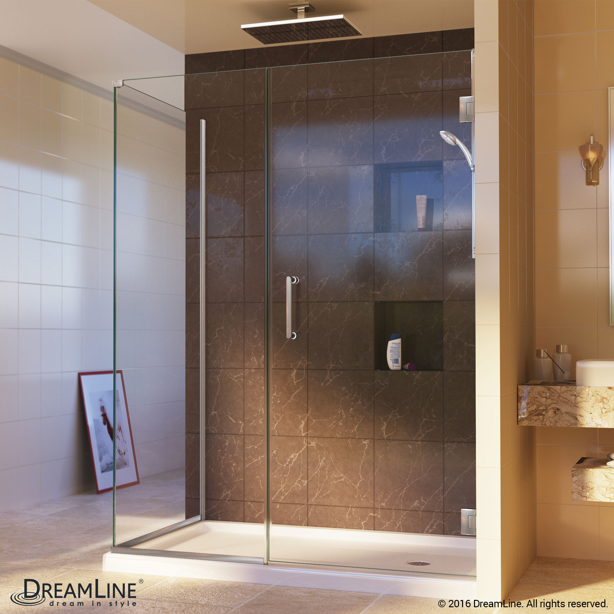 DreamLine SHEN-24605340-04 Unidoor Plus Hinged Shower Enclosure In Brushed Nickel Finish Hardware