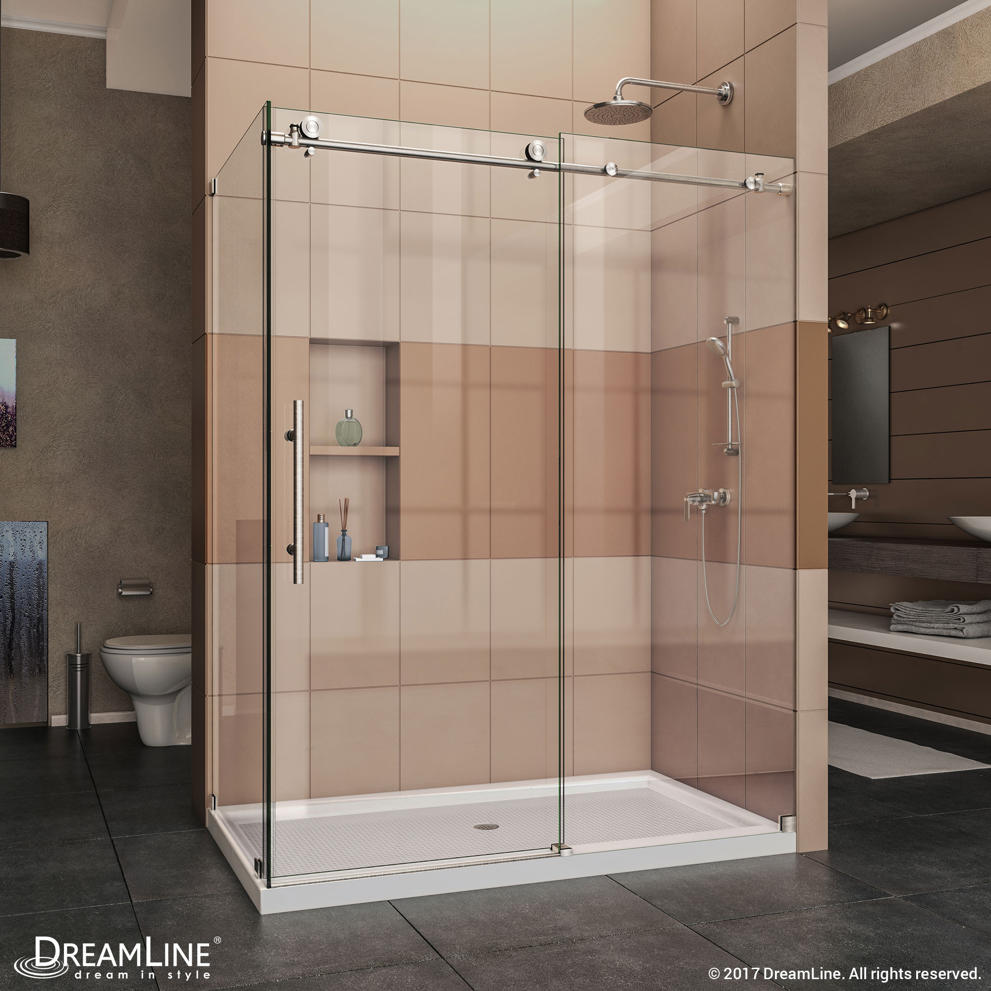 DreamLine SHEN-6134600-07 Enigma-X Shower Enclosure in Brushed Stainless Steel