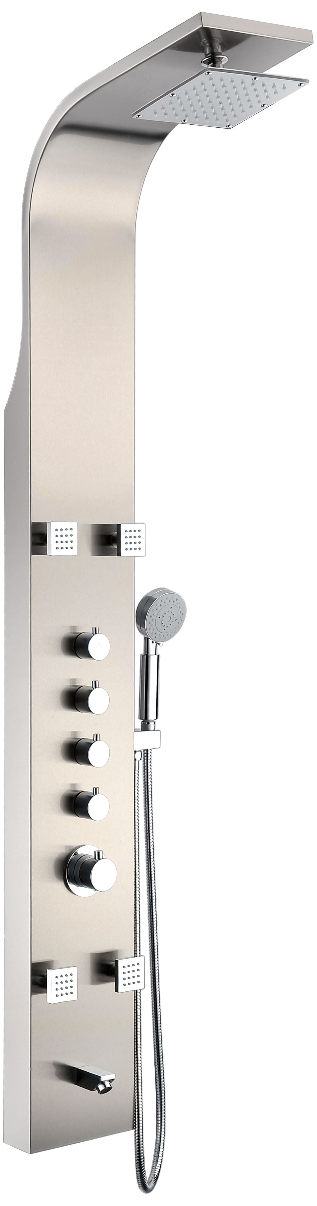 ANZZI SP-AZ022 Thermostatic Shower Panel System In Brushed Stainless Steel