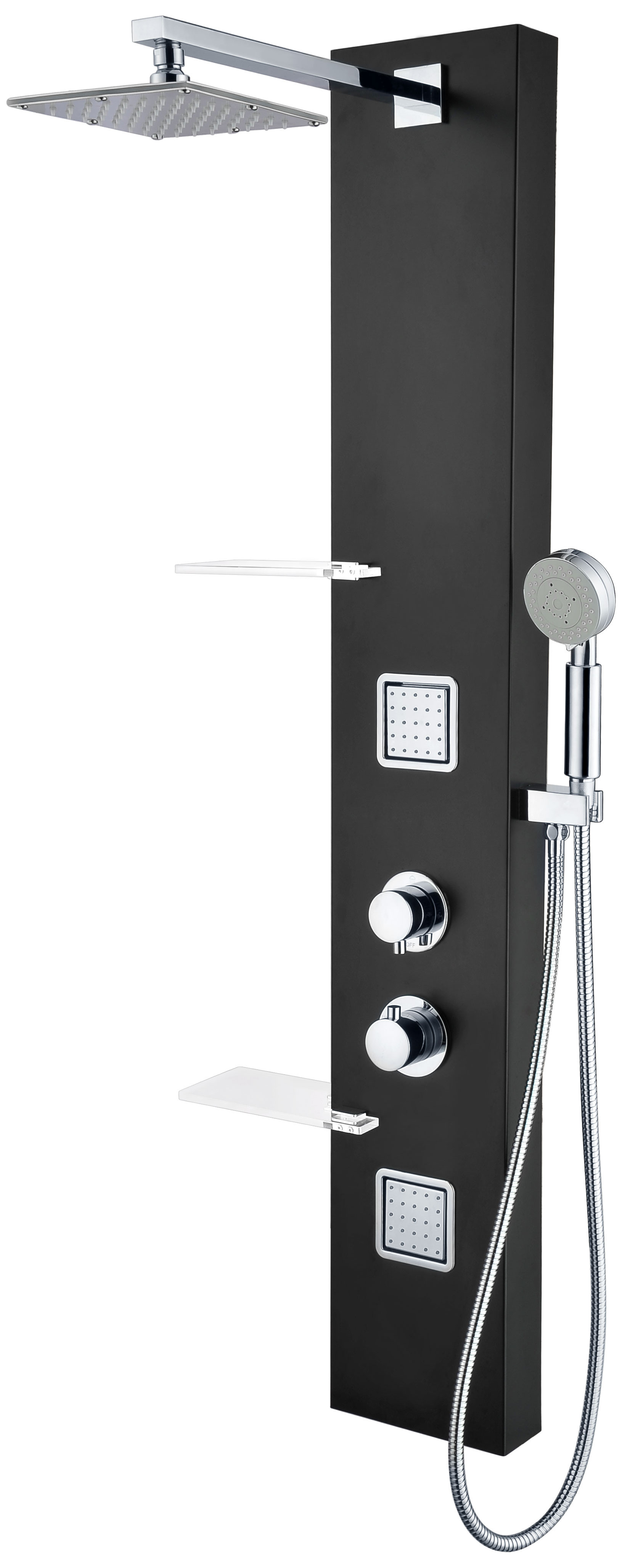 ANZZI SP-AZ025 Ronin Shower Panel With Rain Shower & Spray Wand In Black