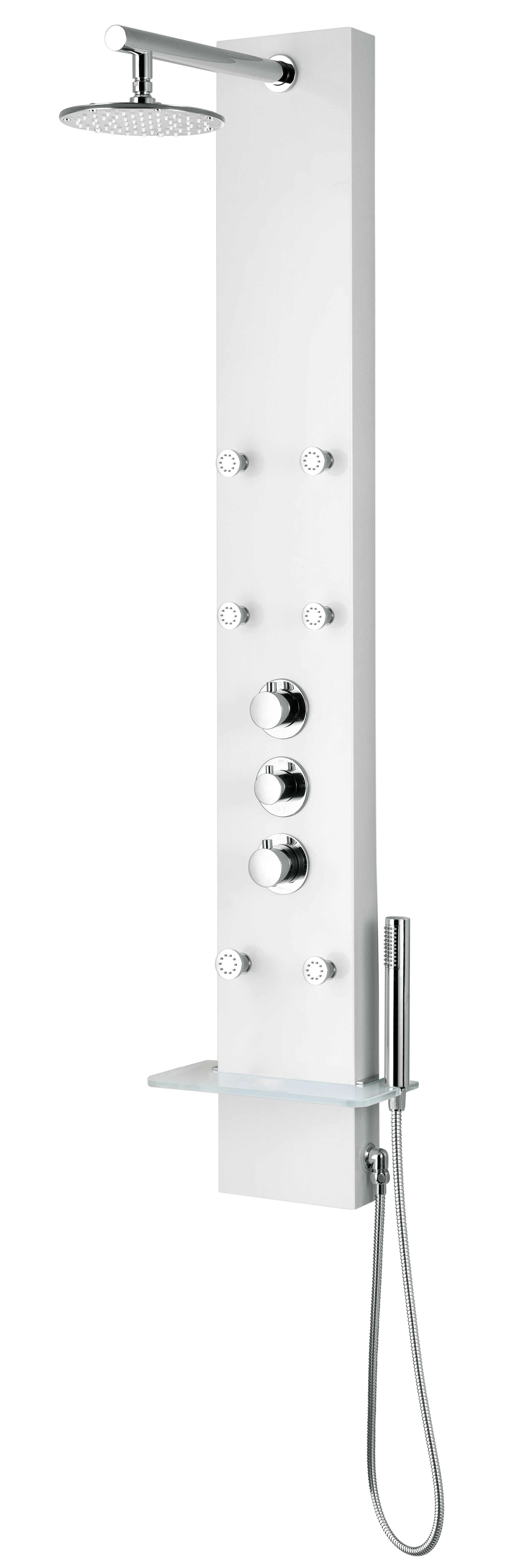 ANZZI SP-AZ028 Donna Shower Panel In White With Rain Shower and Spray Wand
