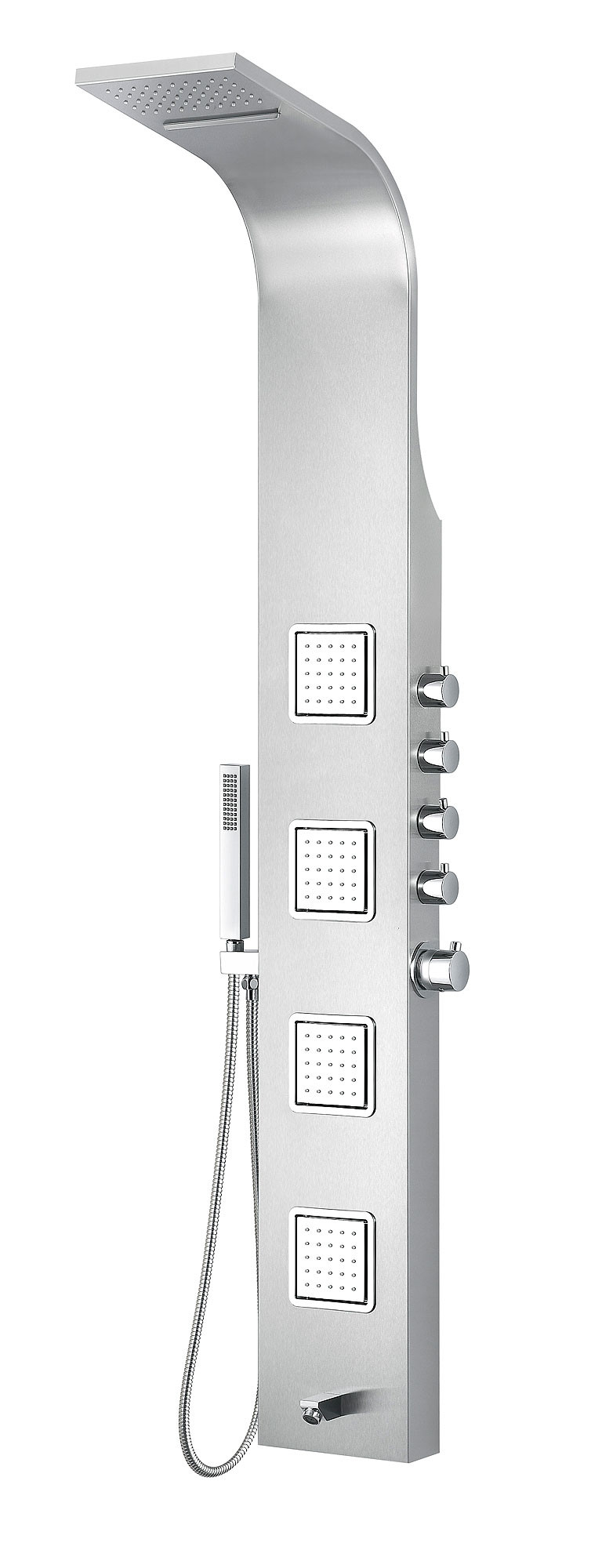 ANZZI SP-AZ043 Mesa Wall Mount Panel System In Brushed Stainless Steel
