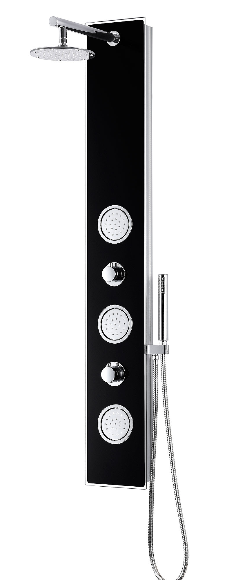 ANZZI SP-AZ045 Llano Shower Panel With Rain Shower and Spray Wand In Black