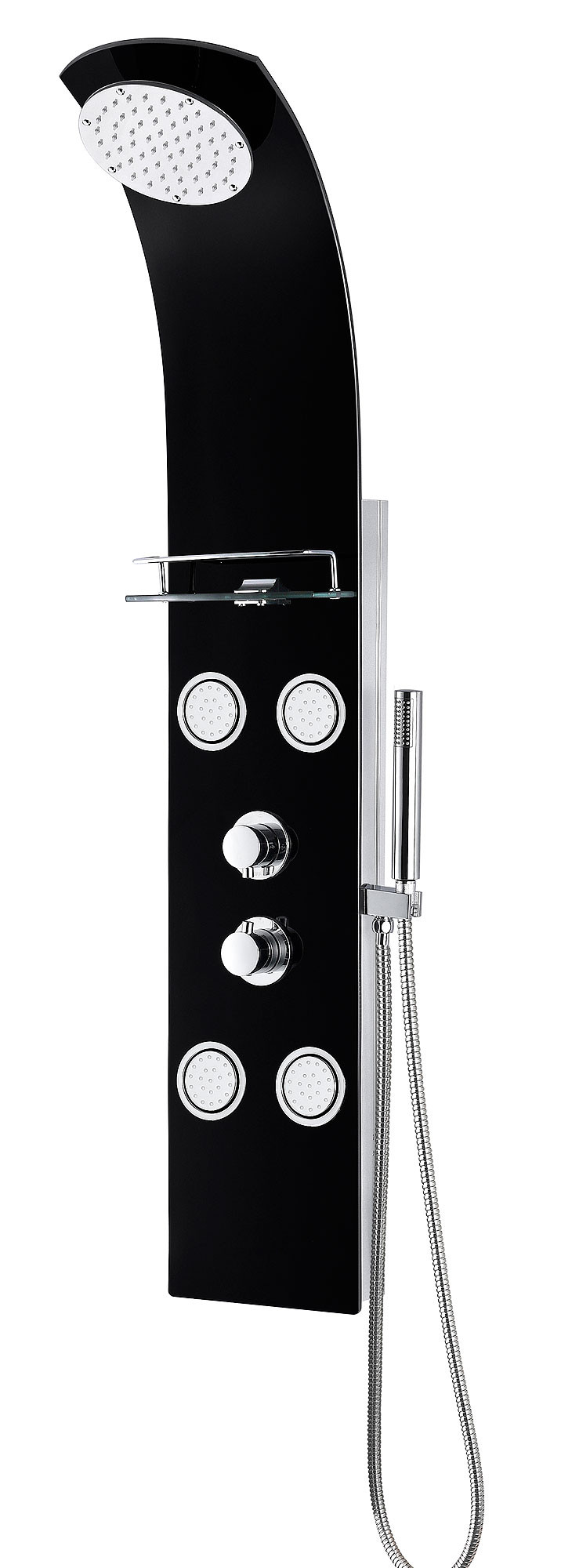 ANZZI SP-AZ047 Llano Shower Panel In Black With Shower Control Knobs