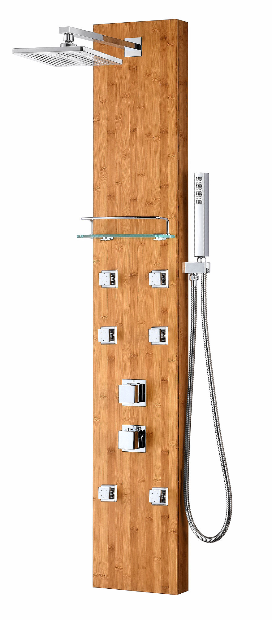 ANZZI SP-AZ058 Crane Natural Bamboo Shower Panel System In Natural Bamboo