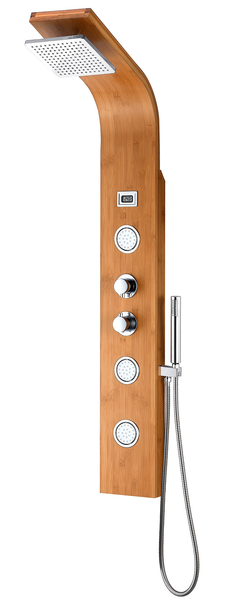 ANZZI SP-AZ059 Crane Wall Mount Shower Panel System In Natural Bamboo