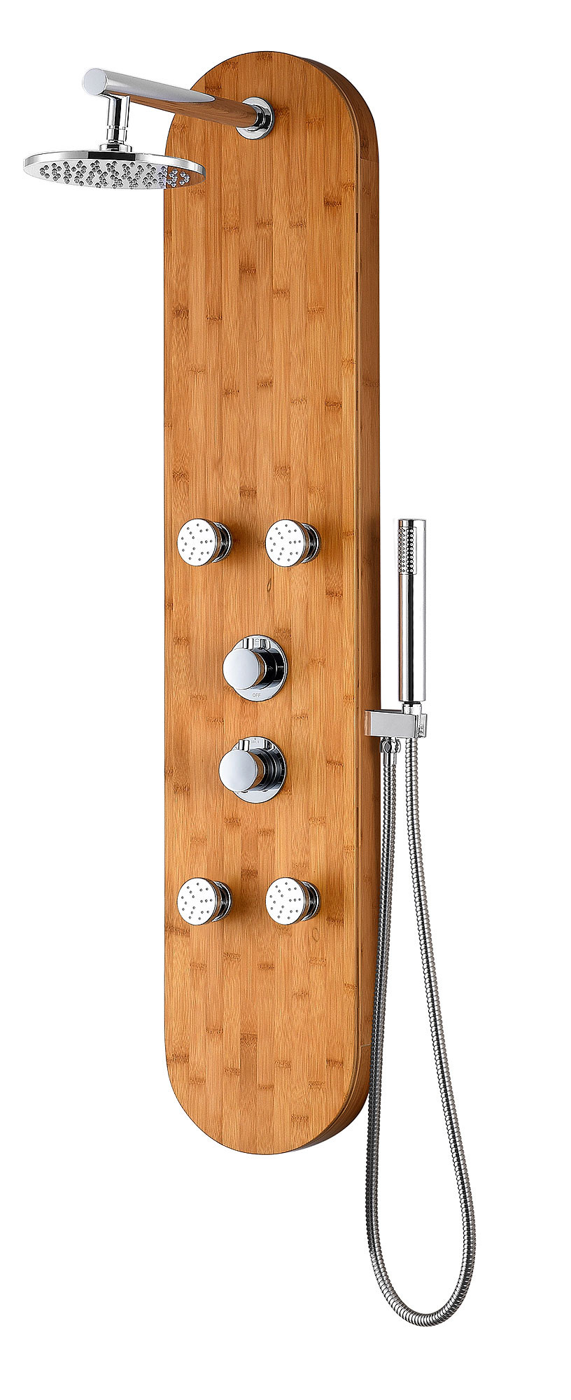 ANZZI SP-AZ061 Crane Shower Panel With Two Knob Handles In Natural Bamboo