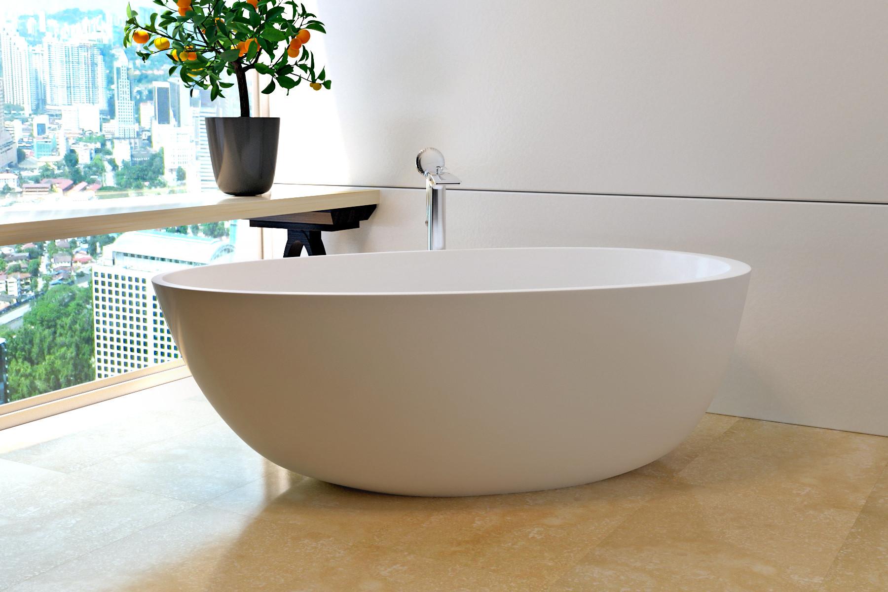 Aquatica Spoon2WM Egg Shaped Free Standing Solid Surface Bathtub in White