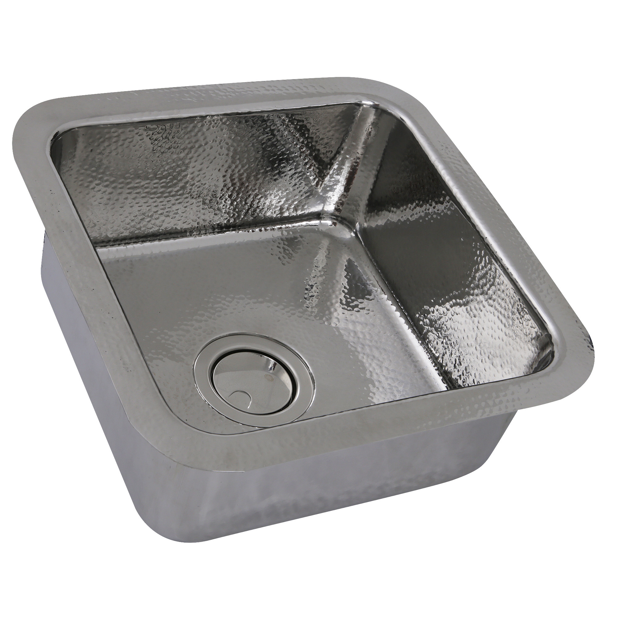"""Nantucket Sinks SQRS-7 16.5"""" Square Hammered Stainless Bar Sink In Polished"""