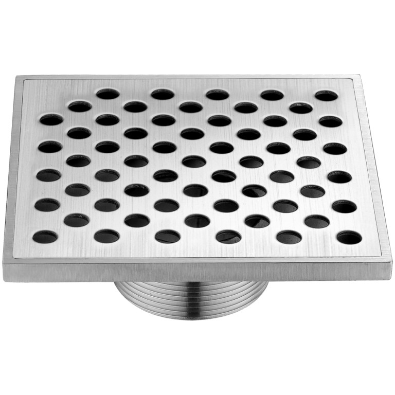 "Dawn® SRE050504 Rhone River Series Square Shower Drain 5""L Threaded In Polished Satin"