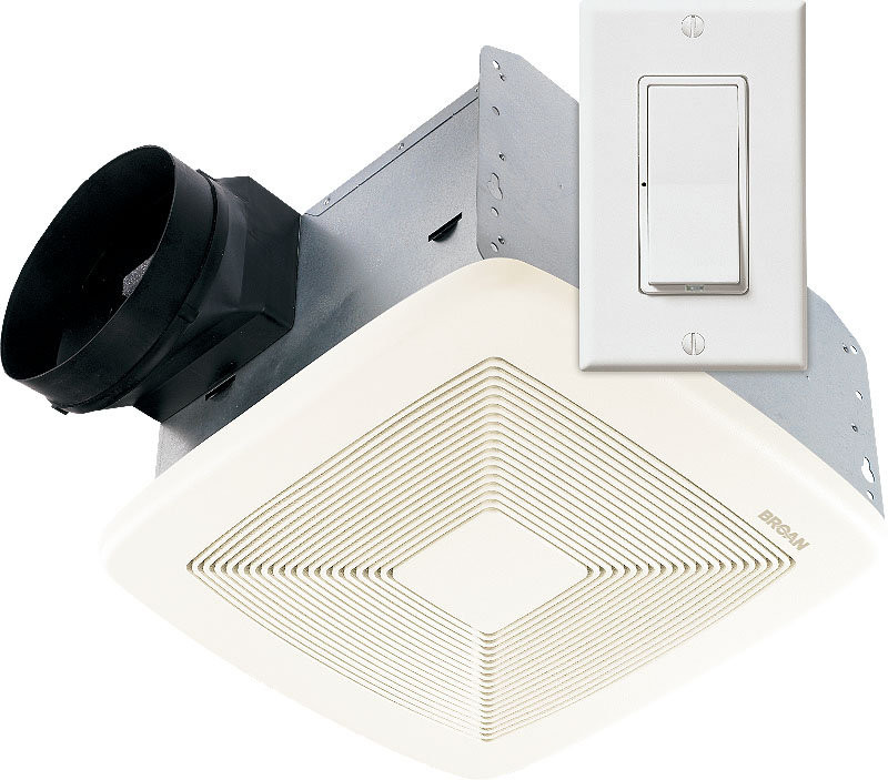 Broan SSQTXE110 White Grille Energy Star Rated Utility Fan W/ Wall Control
