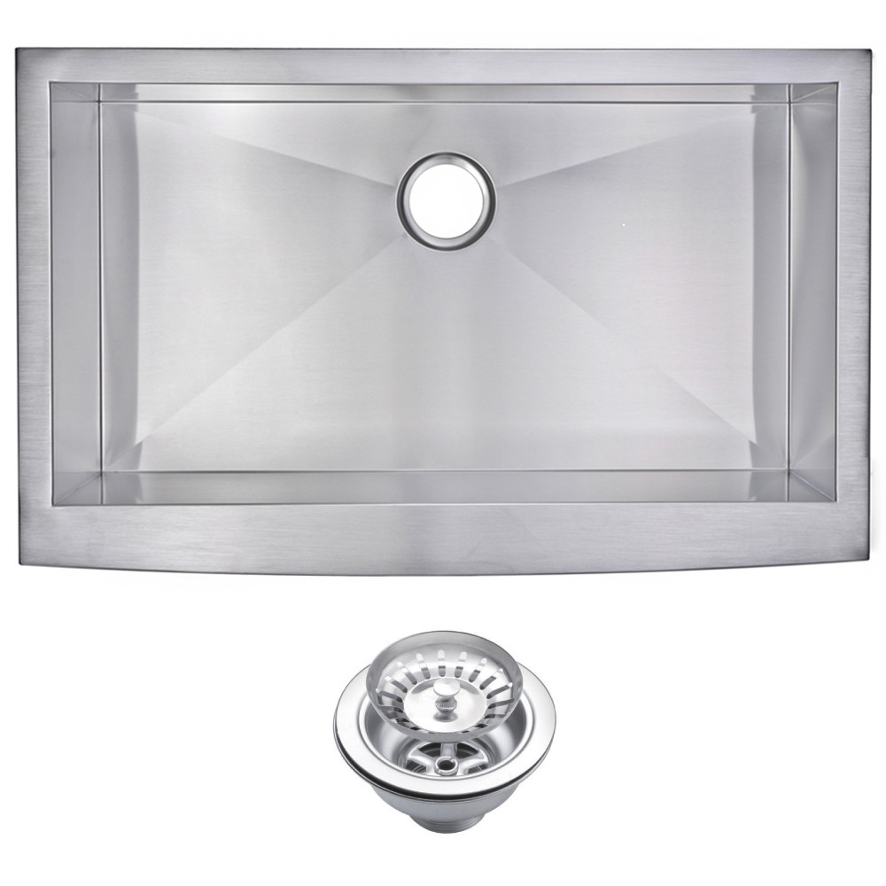 Water Creation SSS-AS-3622A Single Bowl Stainless Steel Apron Front Sink