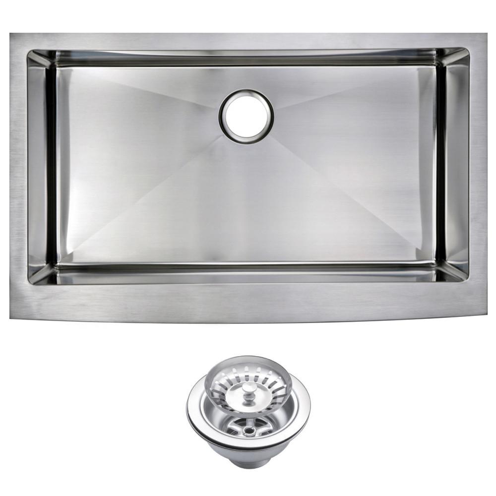 Water Creation SSS-AS-3622B Stainless Steel Handmade Farmhouse Kitchen Sink