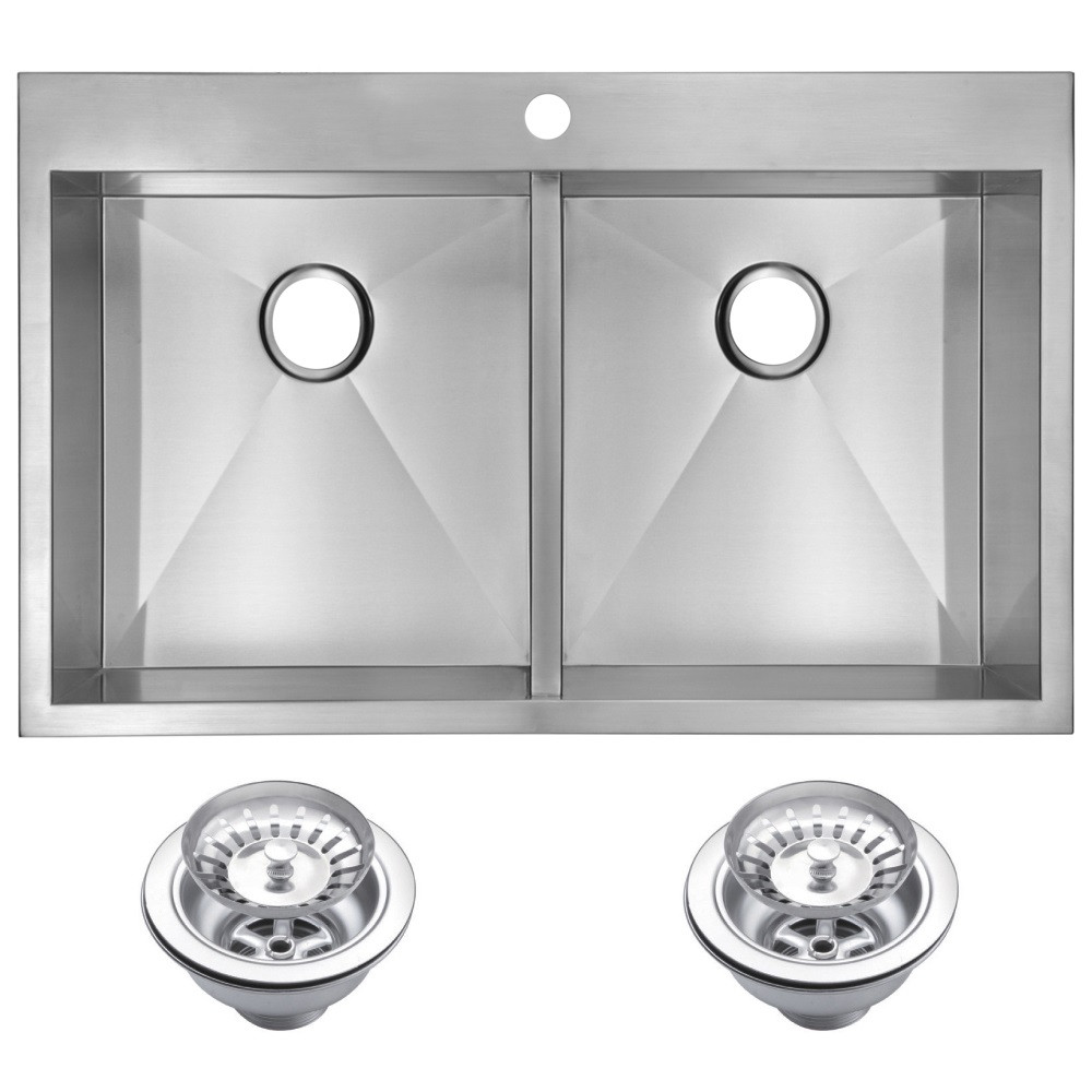 Water Creation SSS-TD-3322A Drop In Kitchen Sink With Drains and Strainers