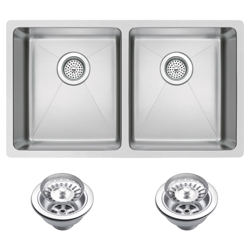 Water Creation SSS-U-3118A Two Bowl Stainless Steel Undermount Kitchen Sink