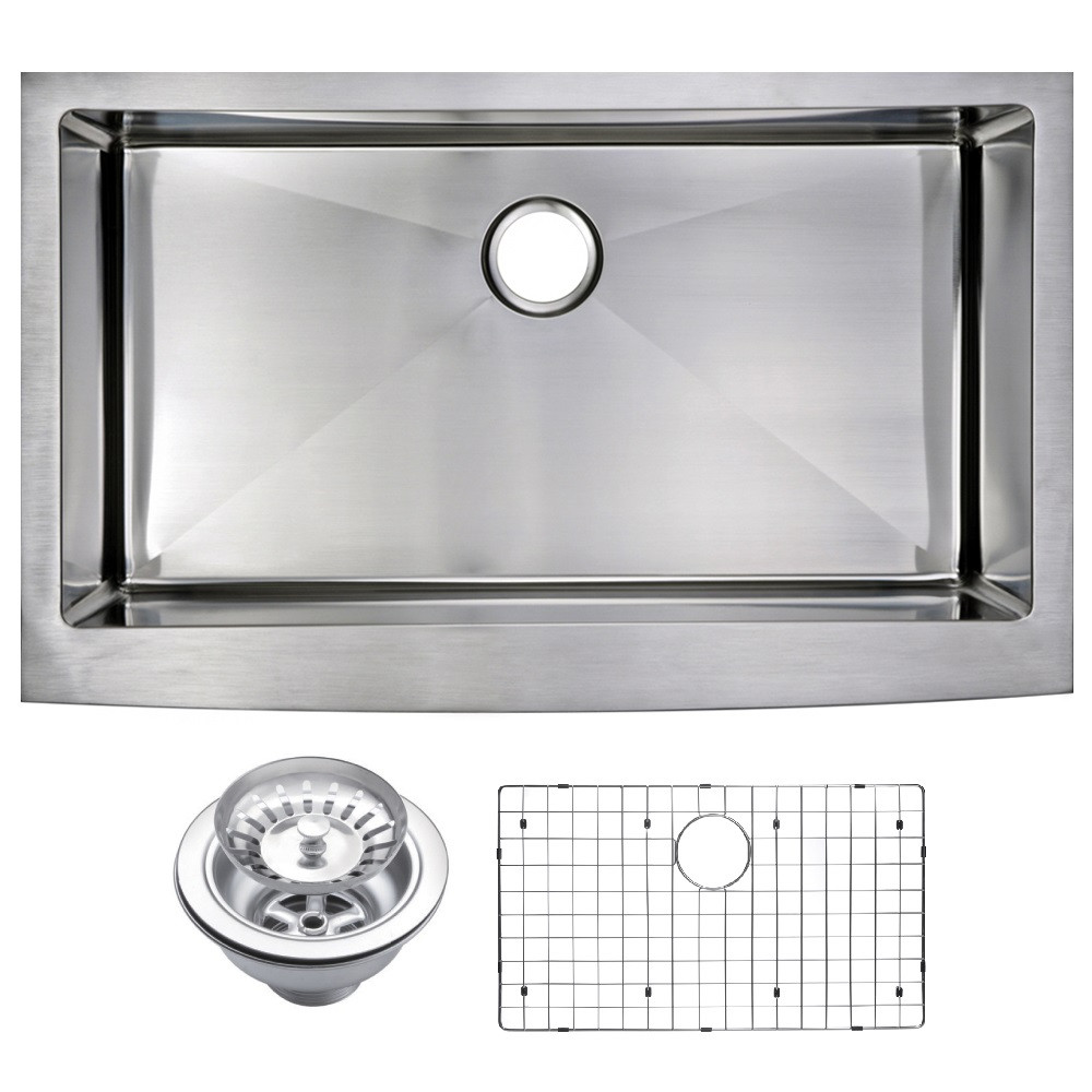 Water Creation SSSG-AS-3622B Single Bowl Hand Made Apron Front Kitchen Sink