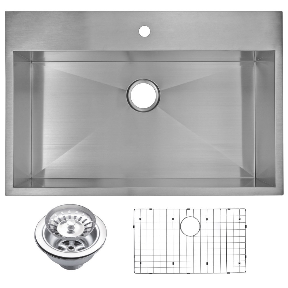Water Creation SSSG-TS-3322A Stainless Steel One Bowl Drop In Kitchen Sink