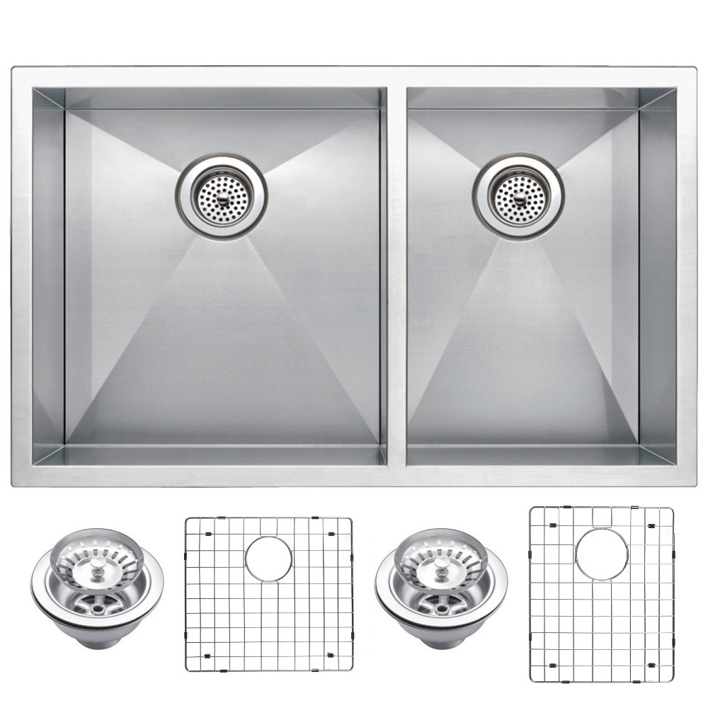 Water Creation SSSG-U-3320A Double Bowl Stainless Steel Undermount Sink