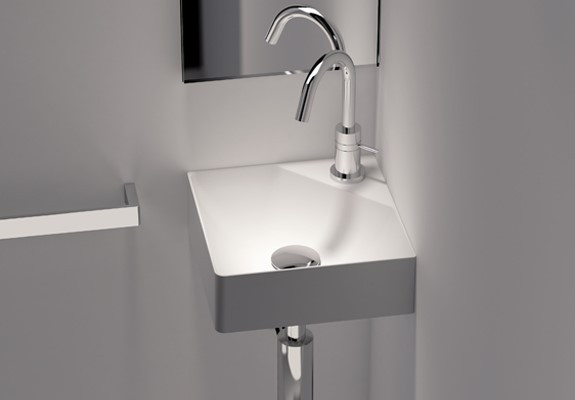 Cantrio Koncepts ST-1111 Solid Surface Wall Mount Bathroom Sink In White