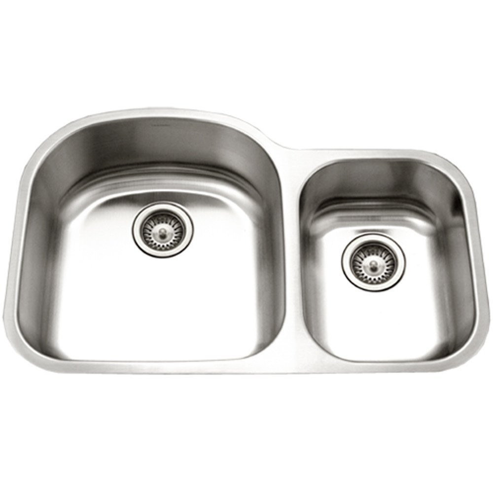 Houzer STC-2200SR-1 Eston Stainless Steel 70/30 Double Bowl Sink With Small Bowl Right