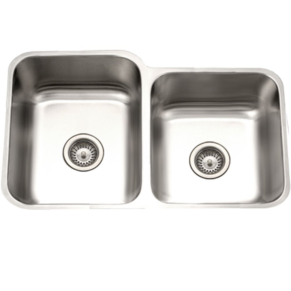 Houzer STE-2300SR-1 Eston Undermount Stainless Steel 60/40 Double Bowl Sink With Small Bowl Right