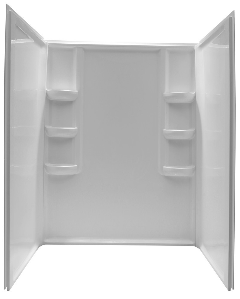 ANZZI SW-AZ009WH Lex-Class Direct-to-Stud Alcove Shower Surround In White