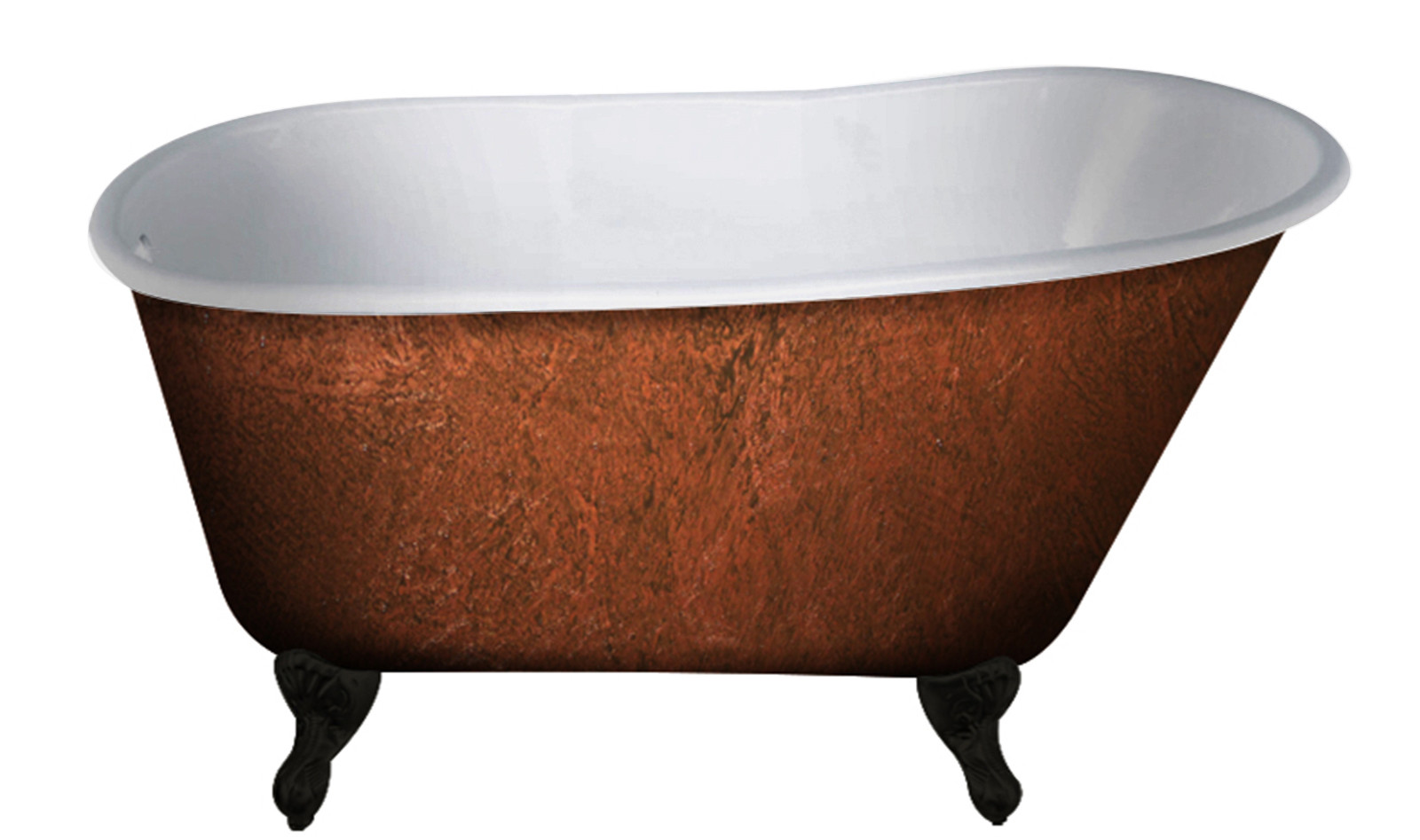 Cambridge SWED54-NH-ORB-CB Cast Iron Bathtub w/ Oil Rubbed Bronze Feet