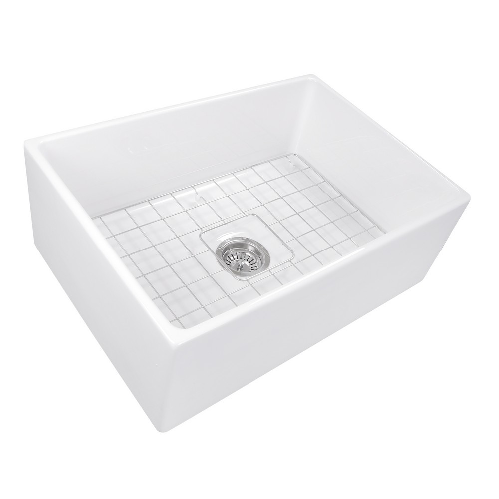 Nantucket Sinks T-FCFS27 27 Inch Farmhouse Fireclay Sink with Drain & Grid