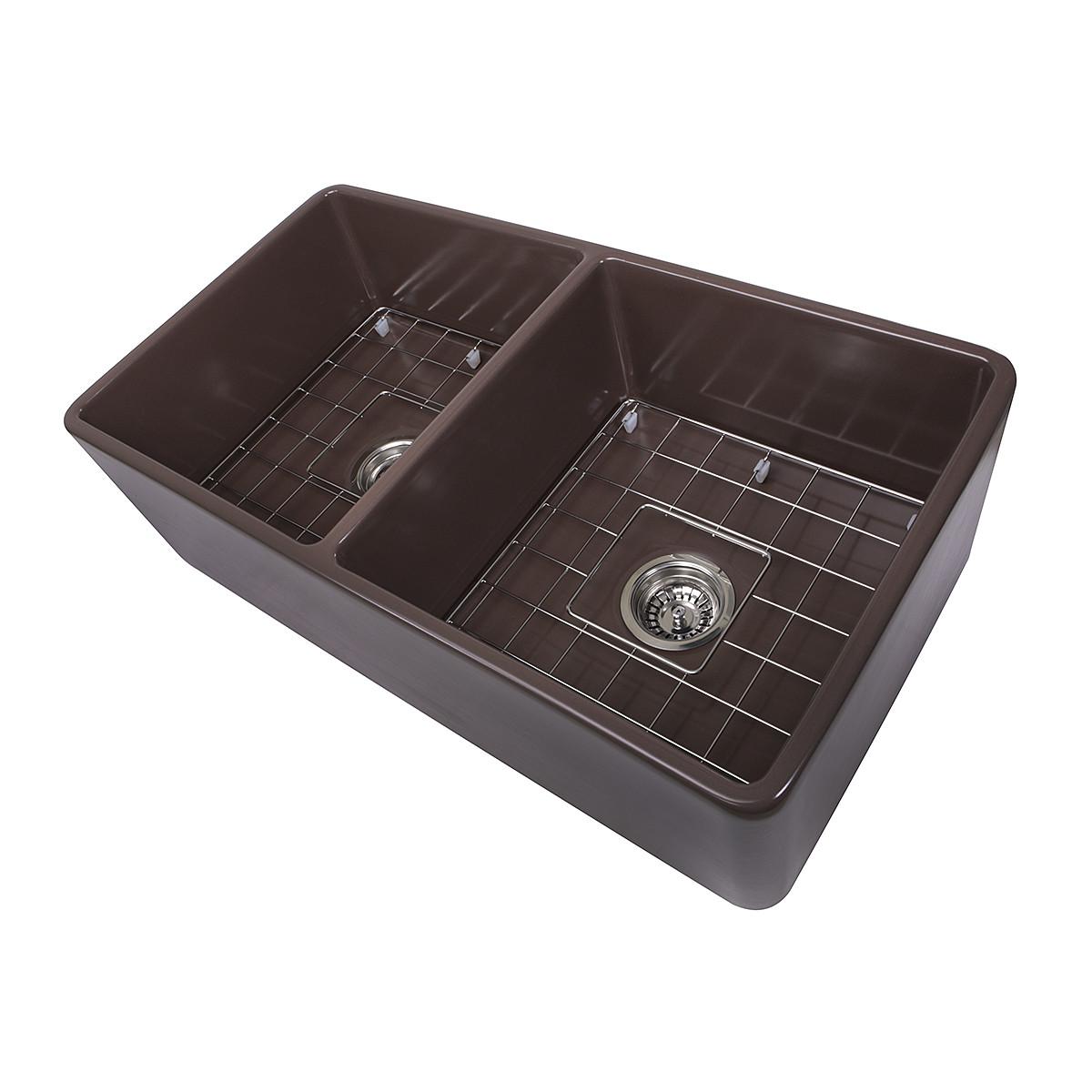 Nantucket Sinks T-FCFS33CB-DBL 33 Inch Double Bowl Coffee Brown Farmhouse Fireclay Kitchen Sink