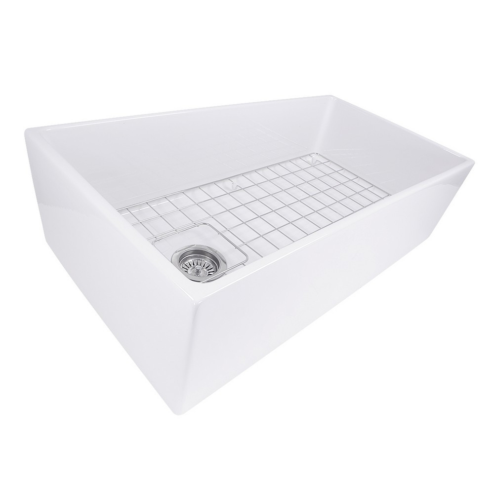 Nantucket Sinks T-FCFS36 Farmhouse Fireclay Sink with Offset Drain and Grid