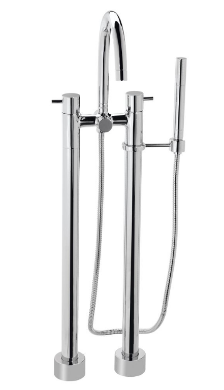 TOTO TB100DF Polished Chrome Two Handle Floor Mounted Tub Filler With Hand Shower