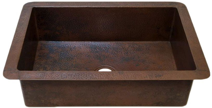 Novatto TCK-002AN GUADALAJARA Hand-Hammered Antique Copper Kitchen Sink