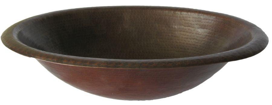 Novatto TCU-003AN CORDOBA Rolled Oval Drop-In Antique Copper Bath Sink