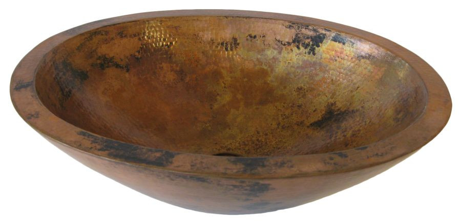 Novatto TCV-010NA MONTEVIDEO Oval Double Wall Natural Copper Vessel Sink