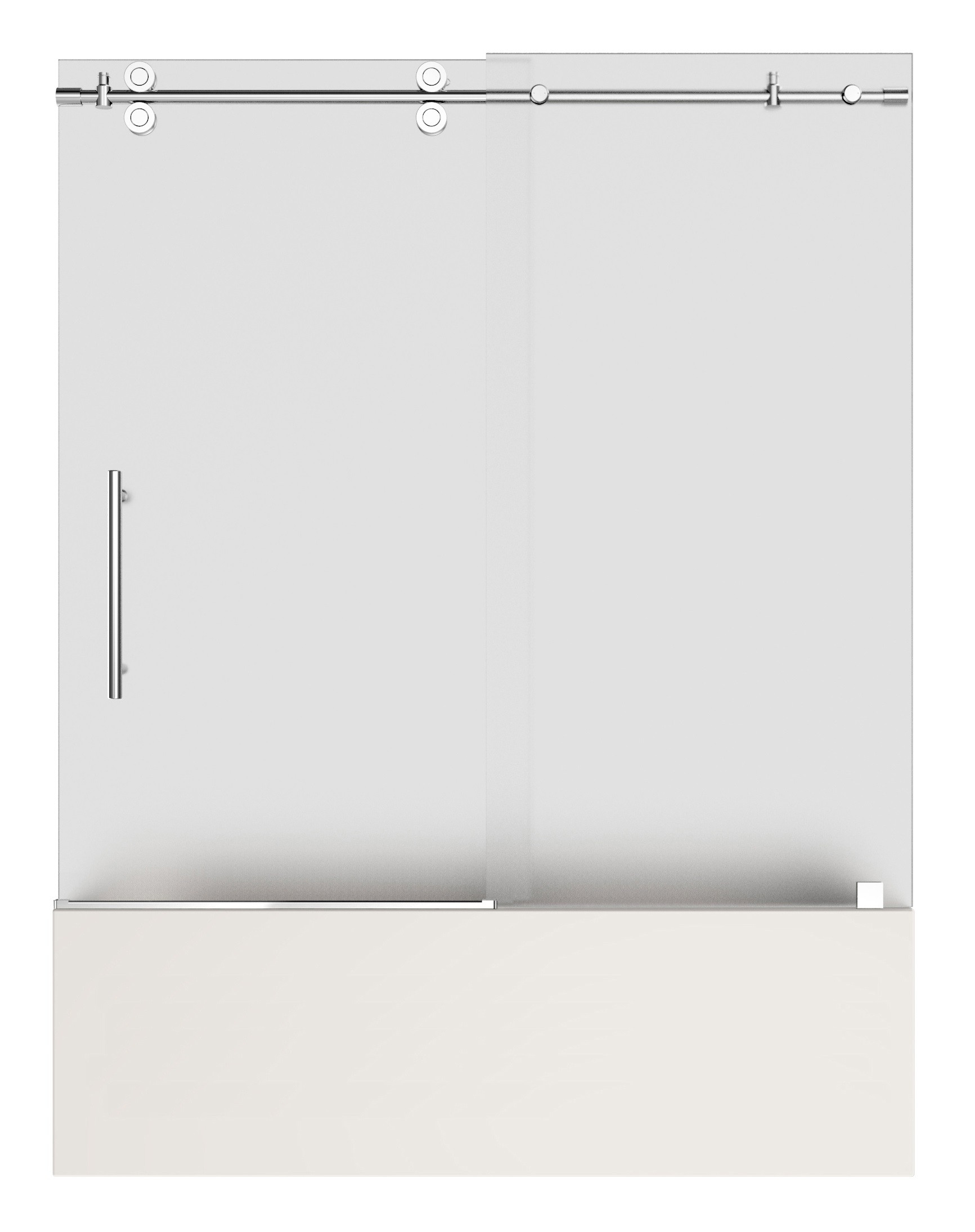 Aston TDR982F-CH-48-6 Soleil Completely Frameless Tub Hinge Door with Frosted Glass in Chrome