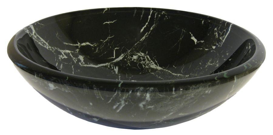 Novatto TID-035 Cullare Black and White Marble Design Glass Vessel Sink