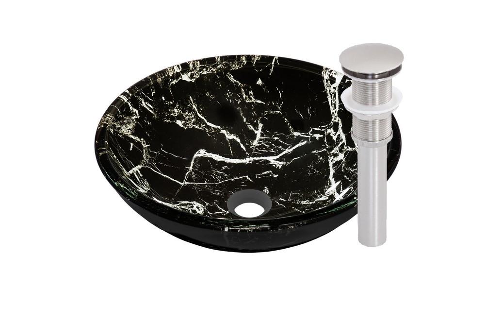 Novatto TID-035BN PALLINA Glass Vessel Bathroom Sink Set - Brushed Nickel