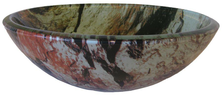 Novatto TID-043 CULLARE Round Glass Vessel Sink with Pond Bottom Design