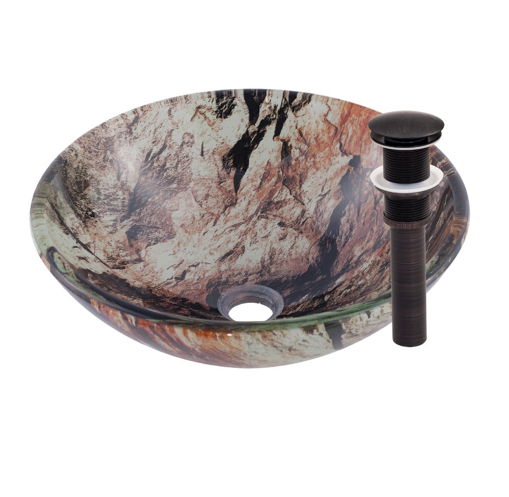Novatto TID-043ORB CULLARE Glass Vessel Bathroom Sink - Oil Rubbed Bronze