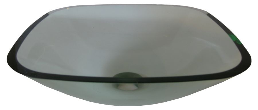 Novatto TIG-8017 Piazza Clear Square High Tempered Glass Vessel Sink
