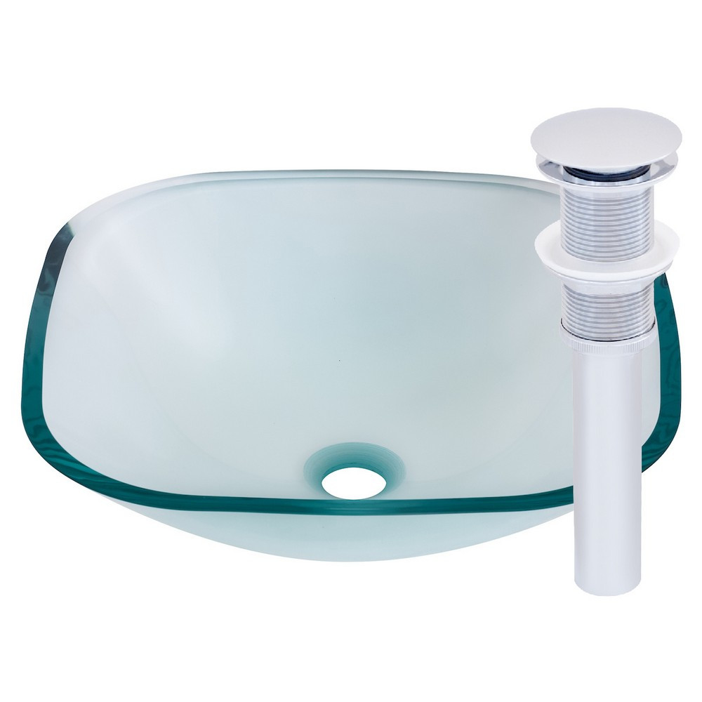 Novatto TIG-8017CH PIAZZA Glass Vessel Bathroom Sink Set - Chrome