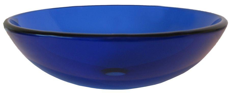 Novatto TIG-8025 Blu Clear Round Tempered Glass Vessel Sink in Blue