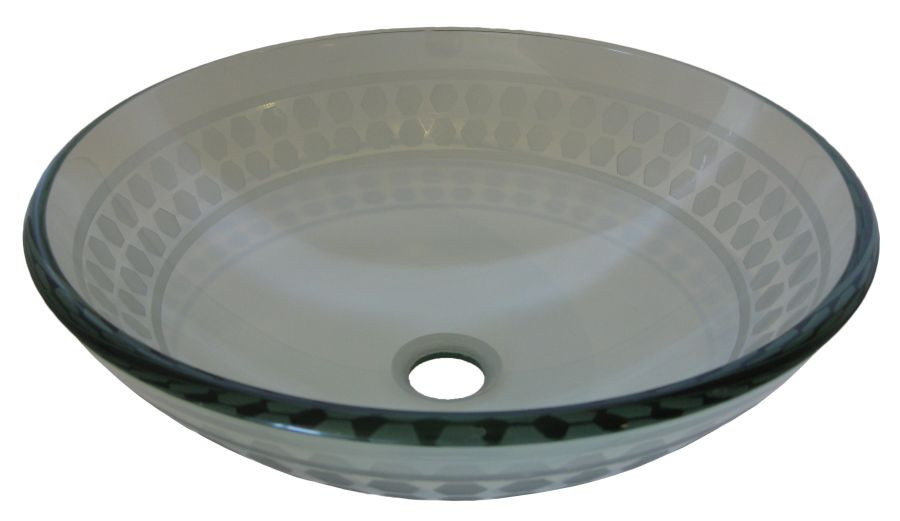 Novatto TIS-158 Imponeren Clear Round Glass Vessel Sink with Etchings